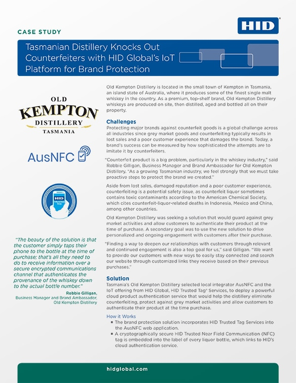 Covershot: Distillery knocks out counterfeiters with HID Global's IoT platform for brand protection