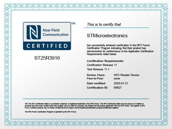 ST NFC Forum certification