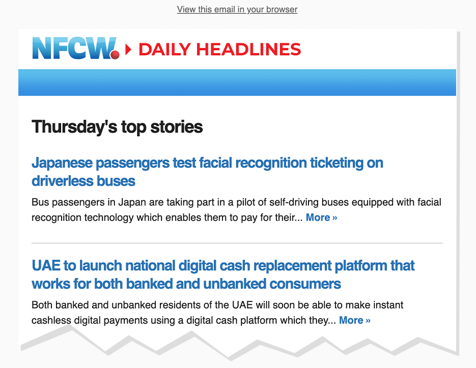 Screenshot: NFCW daily email newsletter